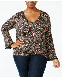 American Rag | Black Trendy Plus Size Smocked Peasant Top, Only At Macy's | Lyst