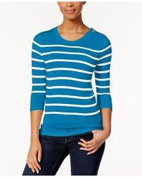 Kensie   Blue Striped Button-detail Sweater   Lyst