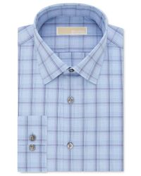 Michael Kors | Blue Men's Slim-fit Non-iron Grey Check Dress Shirt for Men | Lyst
