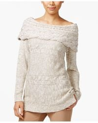 INC International Concepts | Metallic Petite Boat-neck Cable-knit Sweater | Lyst