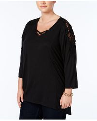 Style & Co. | Black Plus Size Crocheted Bridge-hem Top | Lyst