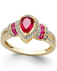 Macy's | Metallic Certified Ruby (1 Ct. T.w.) And Diamond (1/4 Ct. T.w.) Ring In 14k Gold | Lyst