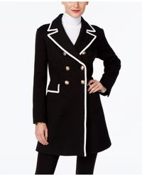INC International Concepts | Black Piped Double-breasted Peacoat | Lyst