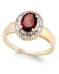 Macy's | Metallic Rhodolite Garnet (1-1/2 Ct. T.w.) And Diamond (1/3 Ct. T.w.) Ring In 14k Gold | Lyst