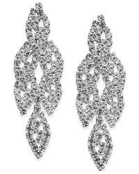 INC International Concepts | Metallic Silver-tone Crystal Leaf Drop Earrings | Lyst