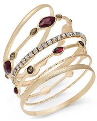 INC International Concepts | Metallic Gold-tone 6-pc. Crystal Bangle Bracelet Set | Lyst