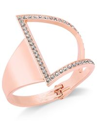 INC International Concepts | Pink Rose Gold-tone Asymmetrical Crystal Cuff Bracelet | Lyst