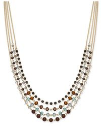 INC International Concepts | Metallic Gold-tone 4-row Beaded Necklace | Lyst