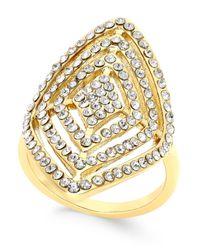 INC International Concepts | Metallic Gold-tone Geometric Crystal Statement Ring | Lyst