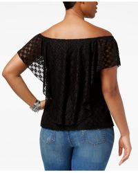 American Rag - Black Trendy Plus Size Lace Top - Lyst