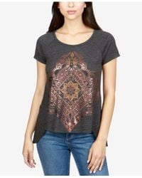 Lucky Brand - Black High-low Metallic-graphic T-shirt - Lyst