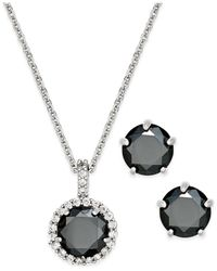 Charter Club | Metallic Silver-tone Jet Stone Pendant Necklace And Stud Earrings Boxed Set | Lyst