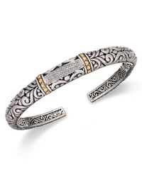 Effy Collection   Metallic Diamond Swirl Bangle (1/5 Ct. T.w.) In 18k Gold And Sterling Silver   Lyst