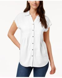 Style & Co. - White Petite Pleated Blouse, Created For Macy's - Lyst