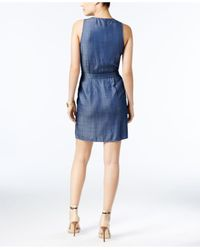 Guess - Blue Sleeveless Wrap Dress - Lyst