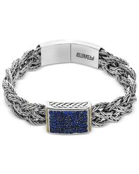 Effy Collection - Metallic Sapphire Pavé Braided Bracelet (2-1/3 Ct. T.w.) In Sterling Silver And 18k Gold - Lyst