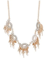INC International Concepts | Metallic Rose Gold-tone Crystal And Chain Statement Necklace | Lyst