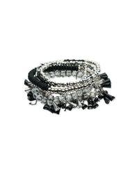 ABS By Allen Schwartz - Metallic Silver-tone Multi-bead Multi-row Stretch Bracelet - Lyst