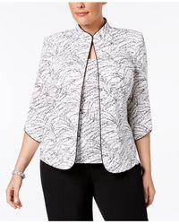 Alex Evenings - White Plus Size Printed Mandarin Jacket & Top Set - Lyst