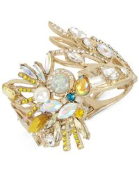 Betsey Johnson - Yellow Gold-tone Stone & Imitation Pearl Cockatoo Hinged Bracelet - Lyst