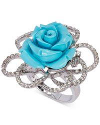 Le Vian   Metallic Manufactured Turquoise (10 Ct. T.w.) And White Topaz (3/4 Ct. T.w.) Rose Ring In Sterling Silver   Lyst