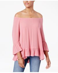 Style & Co. | Pink Ruffle-hem Peasant Top | Lyst