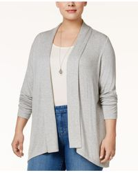 Style & Co.   Gray Plus Size Draped Open-front Cardigan   Lyst