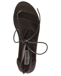 Steve Madden - Black Women's Delgado Two-piece Lace-up Sandals - Lyst