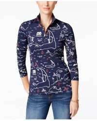 Charter Club | Blue Map-print Mock-neck Top | Lyst