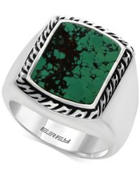 Effy Collection   Metallic Men's Manufactured Turquoise Ring (3-9/10 Ct. T.w.) In Sterling Silver And Black Lacquer for Men   Lyst