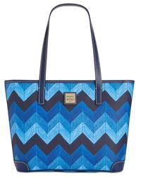 Dooney & Bourke | Blue Denim Chevron Charleston Shopper | Lyst
