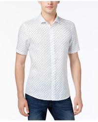 Michael Kors | Blue Men's Slim-fit Mini-globe Print Shirt for Men | Lyst