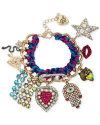 Betsey Johnson - Blue Gold-tone Woven Multi-charm Bracelet - Lyst