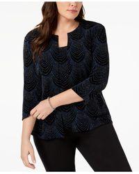 Alex Evenings - Black Plus Size Glitter-print Jacket & Top - Lyst