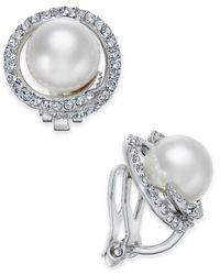 Danori | Metallic Silver-tone Imitation Pearl Pavé Clip-on Stud Earrings | Lyst