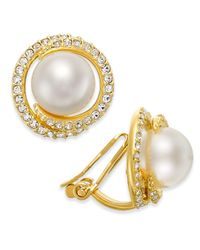 Danori | Metallic Gold-tone Imitation Pearl And Crystal Clip-on Earrings | Lyst