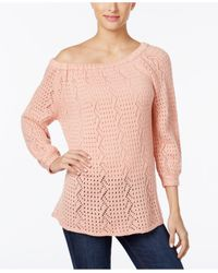 Style & Co. - Pink Off-the-shoulder Sweater - Lyst