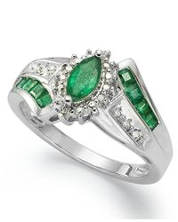 Macy's | Green Gemstone (1-1/5 Ct. T.w.) And Diamond Accent Ring In Sterling Silver | Lyst