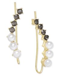 INC International Concepts | Metallic Black Crystal Imitation Pearl Gold-tone Ear Climber Earrings | Lyst