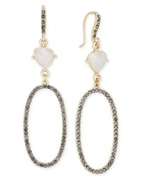 INC International Concepts | Metallic White Crystal Black Pavé Gold-tone Drop Earrings | Lyst