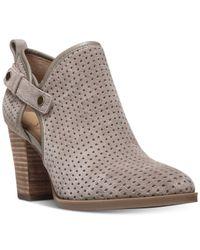 Franco Sarto | Gray Dakota Perforated Ankle Booties | Lyst