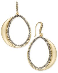 INC International Concepts | Metallic Crystal Gold-tone Open Crescent Drop Earrings | Lyst