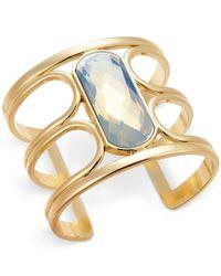 INC International Concepts | Metallic White Stone Gold-tone Open Cuff Bracelet | Lyst