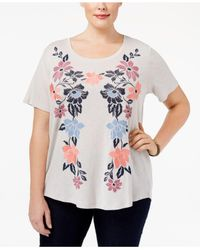 Style & Co. | Multicolor Plus Size Embroidered Floral Top | Lyst
