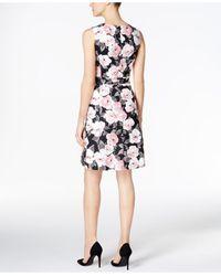 Charter Club   Black Print Fit & Flare Dress   Lyst