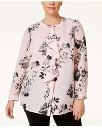 Charter Club | Pink Plus Size Printed Ruffle Blouse | Lyst