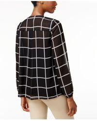 Charter Club | Black Ruffle-front Grid-print Blouse | Lyst