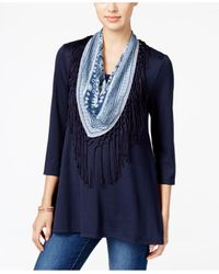 Style & Co. | Blue Petite T-shirt With Printed Fringe Scarf | Lyst