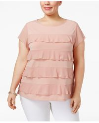 Charter Club - Pink Plus Size Tiered Ruffled Top - Lyst