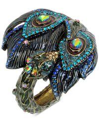 Betsey Johnson | Metallic Gold-tone Multi-stone Peacock Hinged Bangle Bracelet | Lyst
